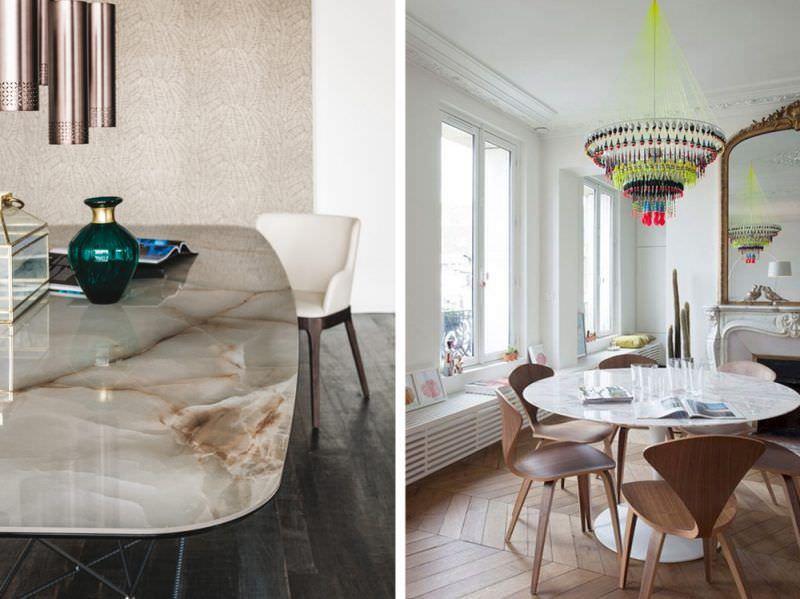 Arredamento trendy: cosa aspettarsi dal 2018? home design tavolo marmo vaso vetro verde sedia poltrona bianca specchio camino finestre sedie legno bicchieri rivista quadri