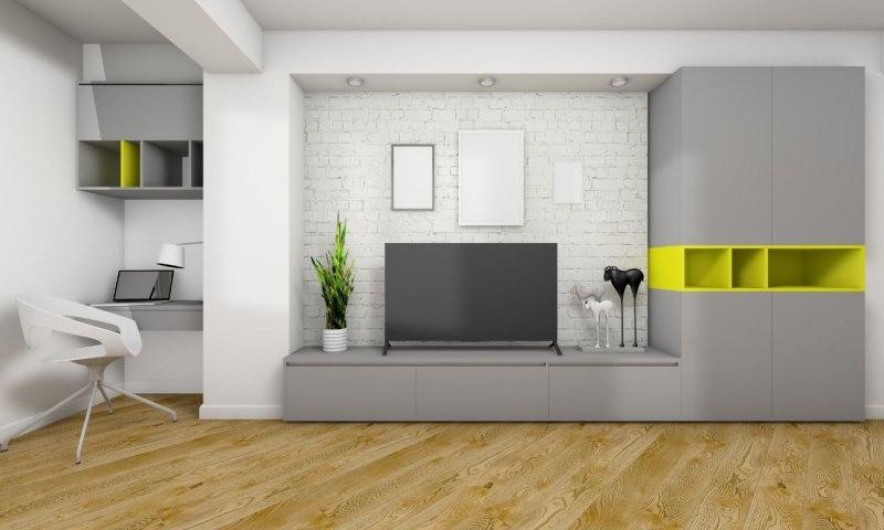 soggiorno moderno parete attrezzata grigio giallo zona lavoro scrivania notebook laptop sedia