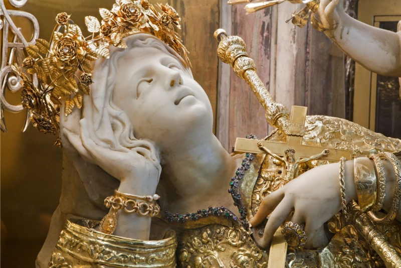 particolare statua Santa Rosalia patrona protettrice Palermo