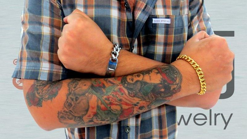 come Scegliere i bracciali da uomo acciaio oro catena tattoo braccia uomo camicia quadri