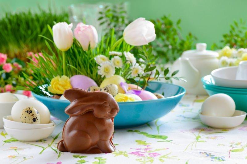 tavola apparecchiata pasqua coniglietto cioccolato tulipani uova ciotola