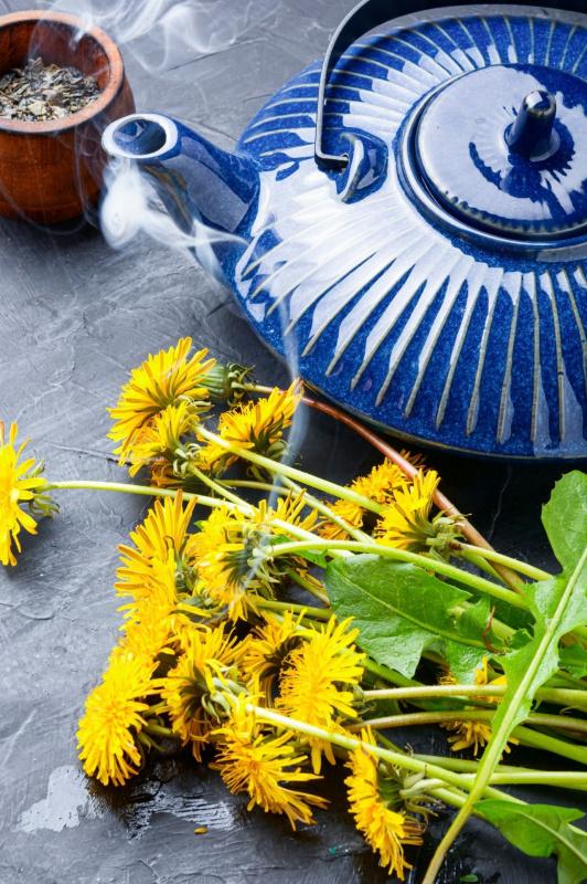 tisana tarassaco fiori ciotola teiera ceramica blu