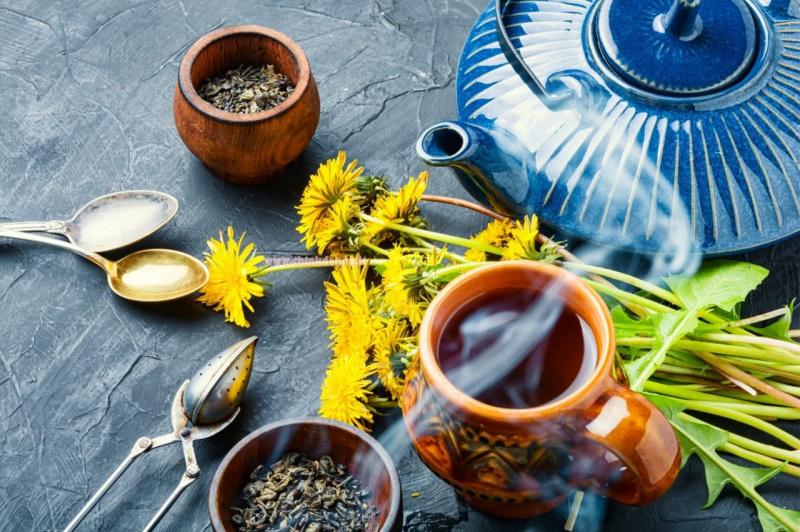 tisana tarassaco teiera semi fiori filtro tazza fumante
