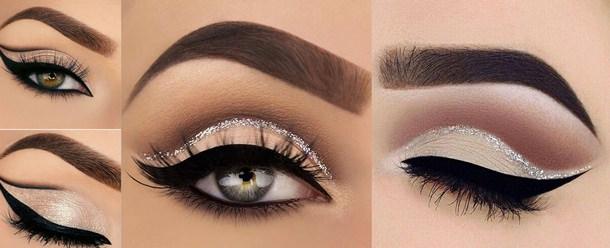 Il makeup del nuovo anno: 7 idee trucco per la festa di Capodanno make-up eyeliner nero riga glitter argento ombretto rosato marrone sopracciglia ciglie finte occhi verdi