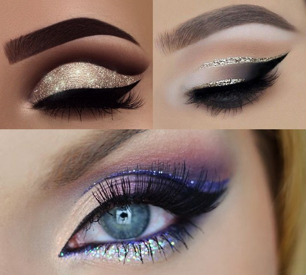 Il makeup del nuovo anno: 7 idee trucco per la festa di Capodanno eyeliner nero glitter argento silver eye shadow ombretto sopracciglia occhi azzurri riga linea glitter azzurro blu ciglia finte