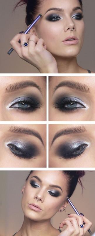 Il makeup del nuovo anno: 7 idee trucco per la festa di Capodanno smokey eye nero argento silver pennello tutorial viso donna occhi azzurri capelli castani rossetto rosa anelli