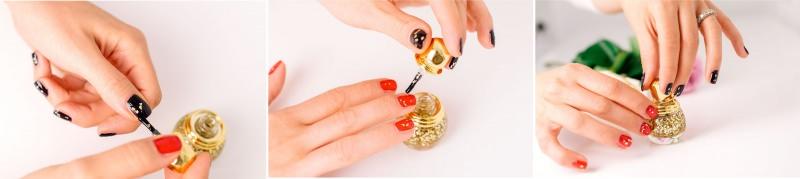 smalto unghie mani donna makeup trucco natale 2014 collezione dior golden shock colore rosso nero glitter oro