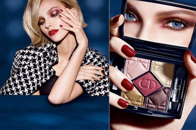 makeup trucco viso donna capelli biondi labbra rosse giaccabianco nero collezione natale 2014 palette 5 coleurs smalto occhi azzurri specchio