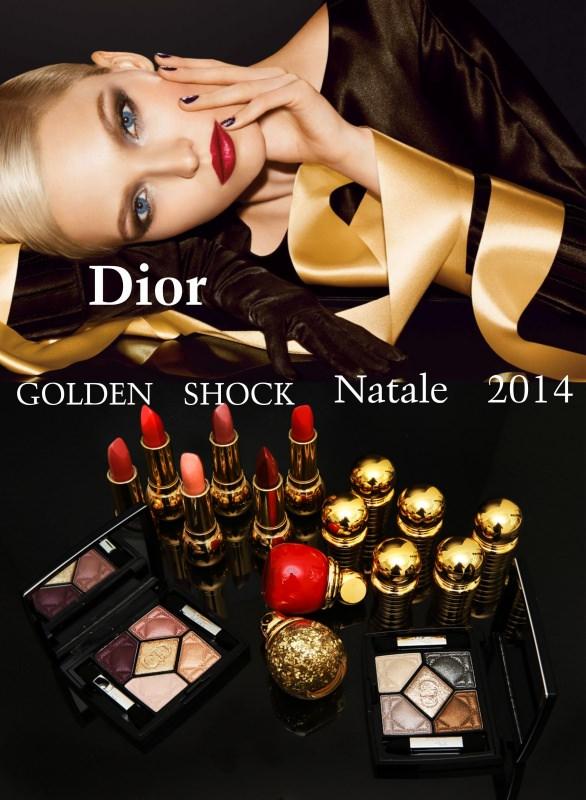 collezione makeup dior golden shock trucco natale 2014 donna bellissima bionda occhi azzurri labbra rossetto rosso unghie nero glitter cosmetici ombretti eyeshadow smalto