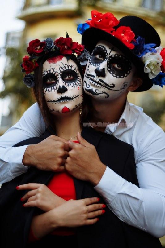 viso uomo donna trucco halloween teschio messicano calavera