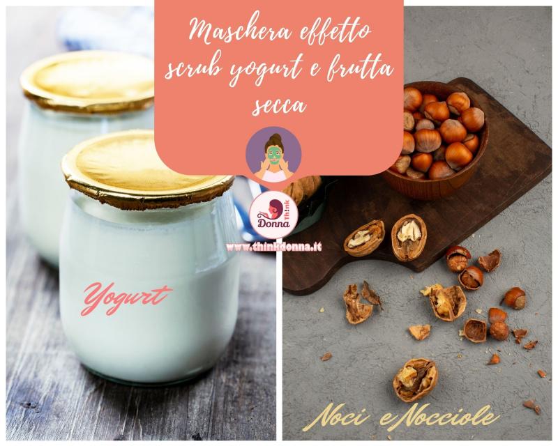cura di bellezza ricetta maschera scrub vasetto yogurt su tavolo legno frutta secca