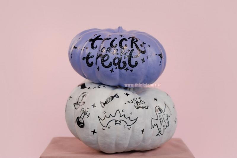zucche dipinte scritta trick or treat pittura